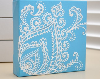 Custom Order- White on Blue Peacock Feather - Henna Style Original Painting - 6x6 Canvas