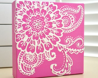 Custom Order - White on Fuschia Pink Floral - Henna Style Original Painting - 6x6 Canvas