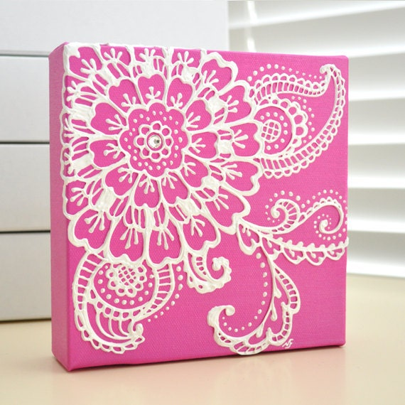 RESERVED White On Fuschia Pink Floral Henna Style Original