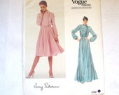 Vintage Vogue Pattern 1980s Vogue American Designer Original Evening Dress Misses Blouson Dress Pattern Jerry Silverman 2782 Size 10