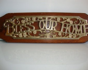 Brass And Wood Sign BLESS OUR HOME Plaque
