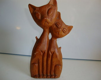Wood Figurine, Carved Wood Figurine, 2  Cats, Home Decor, Carved Wood Kittens