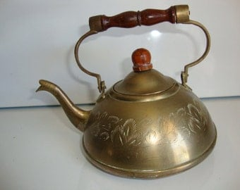 Vintage  Brass Tea Kettle Teapot