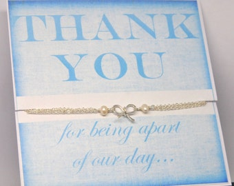 Thank You Bridesmaid Gifts with Gift Card, Personalized Bridesmaid Jewelry