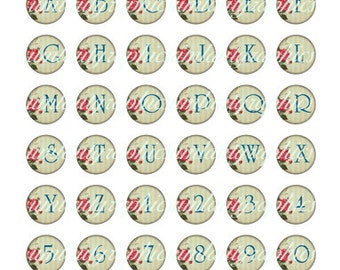 Alphabet Digital Collage Clip Art 1 x 1 Inch Circle Victorian Roses and Stripes