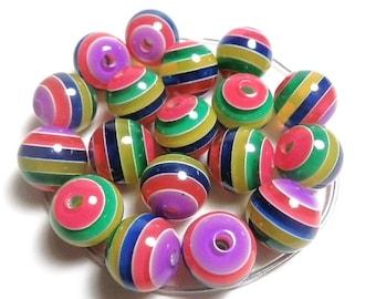 10 Resin Acrylic Rainbow Stripe Multicolored Round Beads 11mm