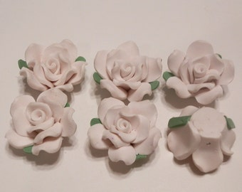 10 Fimo Polymer Clay Fimo Flower Rose Fimo Beads 32mm White
