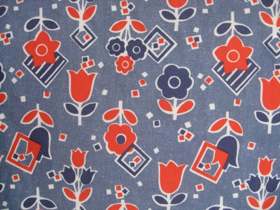 """Hippie flower fabric/vintage supplies/floral polyester stretch fabric/60"""" wide/1 yd and 3"""" long"""