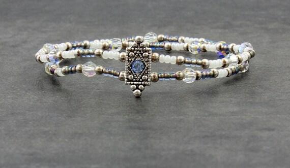 Swarovski Crystal Double Strand Stretch Bracelet Blue Pearl White