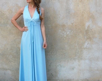 1970's Carrie Couture powder blue maxi dress- 70s floor length disco dress-medium