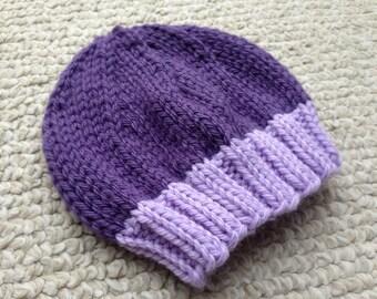Purple Newborn Baby Beanie with Lavender Brim, Photo Prop, Infant Hat