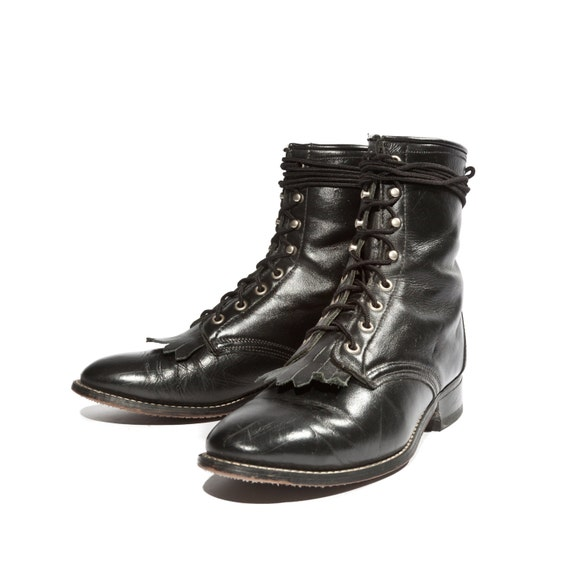Women s laredo roper lace up boots in black leather with removable