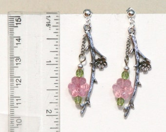 Pink Flower branch antiqued silver earrings