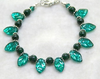 Emerald Green Leaves with Malachite and Silver Bracelet