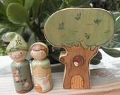 Wood Toy Set-PEG DOLL COUPLE-Tree Habitat-Waldorf Inspired
