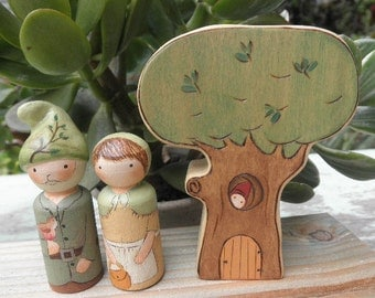 Wood Toy Set-PEG DOLL COUPLE-Tree Habitat-Waldorf Inspired