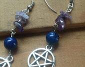 Wickedly Wiccan Gemstone & Pentagram Protection Earrings