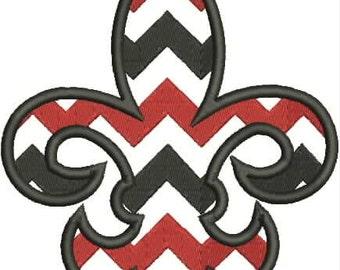 Chevron Fleur De Lis, Fleur de Lis Embroidery Design,