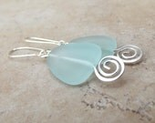 Geometric Earrings:  Aqua Sea Glass & Hammered Silver Swirl Beach Jewelry, Mint Green Triangle Earrings