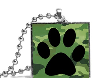 Pawprint Green Camoflauge Necklace