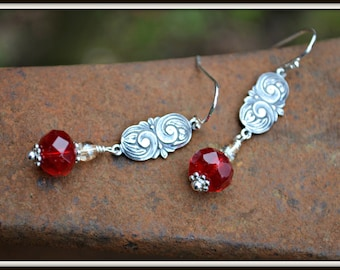 Cherry Red Earrings with Silver Art Nouveau Charm handmade jewelry gift