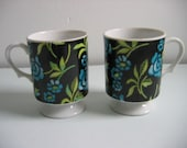2 Vintage Floral Pedestal Cups.  Holt Howard, Japan.  Navy Blue and Turquoise Flowers. Mid century modern, Danish Modern, Eames era. 1970's.