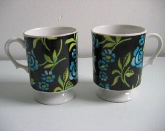 2 Vintage Floral Pedestal Cups.  Holt Howard, Japan.  Navy Blue and Turquoise Flowers. Mid century modern, Danish Modern, Eames era. 1970's.