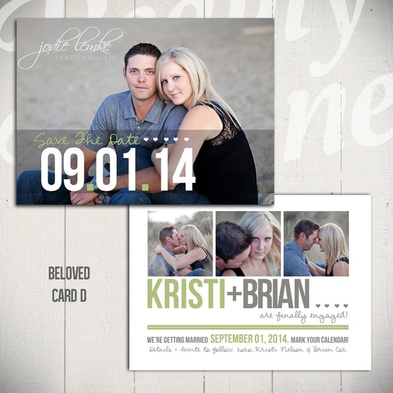 Save The Date Card Template: Beloved Card D - 5x7 Engagement Card Template
