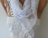 White Lace Scarf  Shawl Scarf  -  Cowl with Sequin - Bridesmaid Gift Bridal Accessories  Gift Ideas For Her Women Fashion Accessories