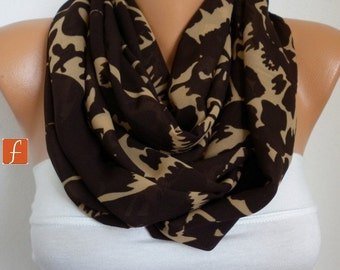 Brown & Beige Infinity Chiffon Scarf ,Clothing gift, Circle Scarf Loop Scarf  Gift for her,women fashion accessories