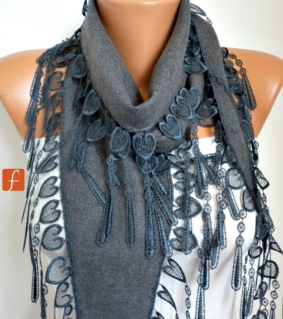 Gray Heart Pashmina Scarf, Necklace Cowl Scarf, LOVE,Gift Ideas For Her, Women Fashion Accessories, Bridesmaid Gift,Teacher Gift