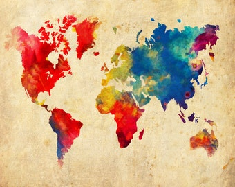 World Map, Abstract World Map,  Print Poster,  Decor, Travel, Wall Map, Office Decor