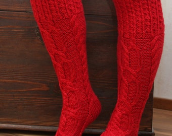 Christmas Red Knitted knee socks nice and warm