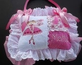Personalized Ruffled Pink and White Tooth Fairy Pillow