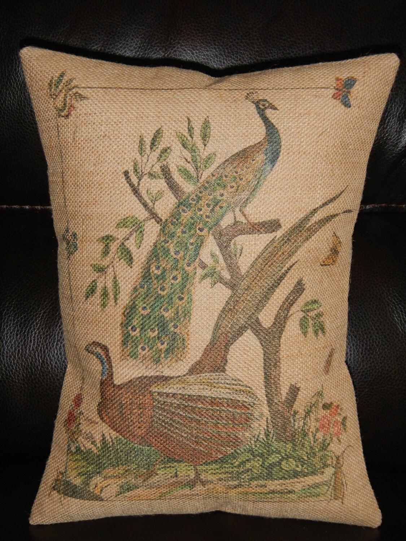 Shabby Chic Burlap Pillows : Vintage Peacock Burlap Pillow botanical Shabby Chic INSERT