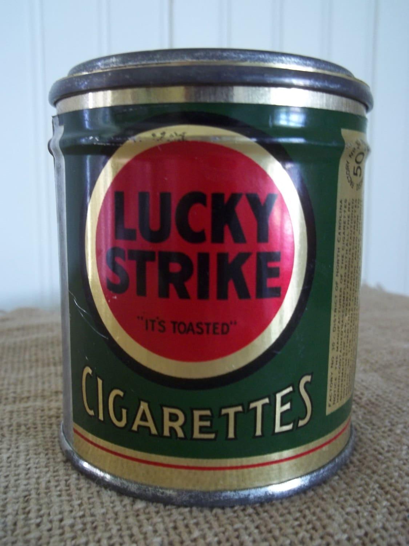 Small Round Vintage Lucky Strike Cigarette Tin