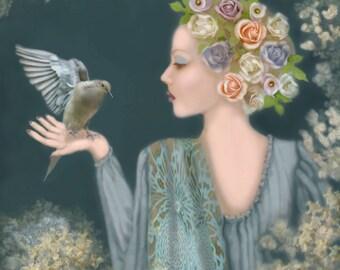 In Trust...Original Painting, Archival Print, Home Decor, Woman, Bird, Roses, Love of Creatures
