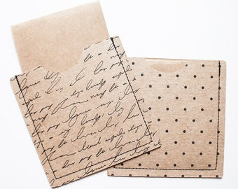 Note Cards - Set of 18 Mini Notecards with stitched kraft brown and black print sleeves