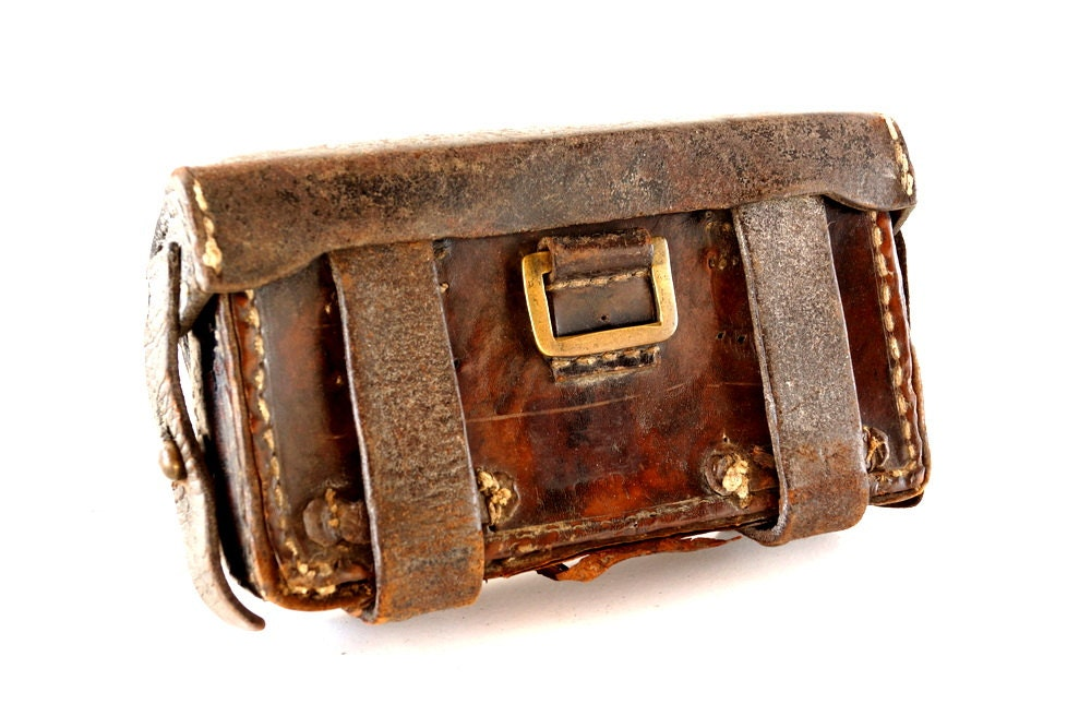 Vintage / Antique French Muskette Ammo Cartridge Leather Pouch