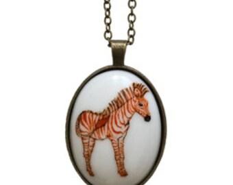 SALE Illustrated Zebra porcelain cameo necklace. 50% OFF!