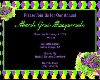 Customized Mardi Gras Masquerade Invitations