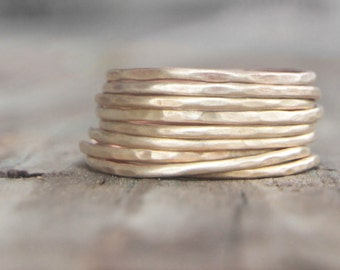 Stacking Rings / NINE Thin Stack Rings / Delicate Nu Gold Stacking Rings / Stackable Ring / Delicate Jewelry / Simple Rings Chic