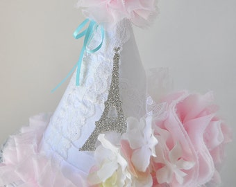 Girls Shabby Chic Eiffel Tower Birthday Party Hat