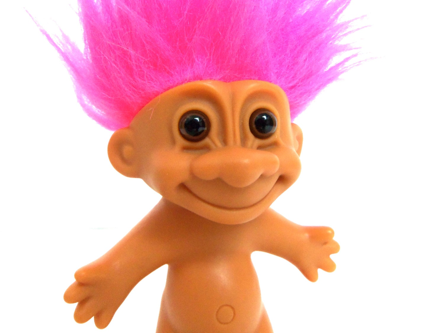 Vtg Russ Troll Doll With Bright Neon Pink Hair Hard Plastic