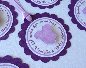Baby Shower Favor Tags - One Dozen - Baby Girl - Purple- Lavender- White