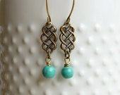 Clearance - Sale.... Antiqued Gold Brass and Turquoise Dangle Earrings