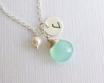 Sterling Silver Birthstone Initial Pearl Charm Trio Necklace -- Aqua Chalcedony -- Personalized Bridesmaids