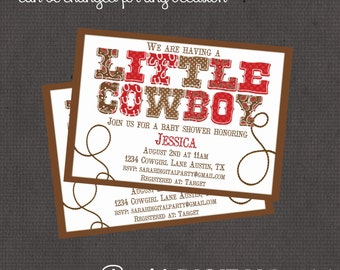 little cowboy baby shower invitation 4x6 or 5x7 digital you print your own design 7