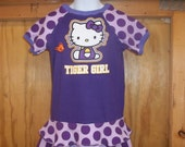 Upcycled Girl Dress/ LSU/Tiger/Hello Kitty/ Size 3/4 RTS