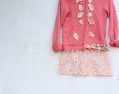 RESERVED FOR sarah upcycled eco J Crew ruffle hoody applique embroidery leaves lace shabby chic fabric